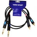 2xRCA - 2x6,3 Jack kábel, 1m (préselt), HPC-014-1M